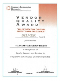 Vendor Quality Award- supply chain excellence
